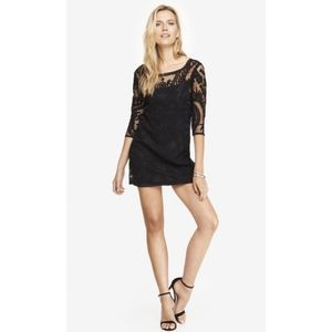 🌴 Express Baroque Floral Lace Sheath Mini Dress